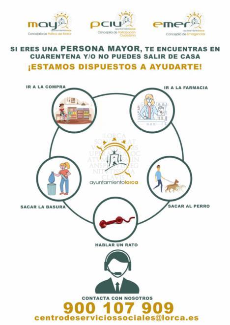 """El Ayuntamiento de Lorca pone en marcha el proyecto """"Tu vecino más cercano"""" que facilitará apoyo telefónico a personas mayores o en riesgo ante la crisis sanitaria y social actual"""