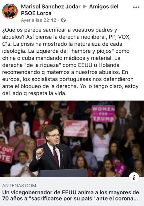 El PP de Lorca exige a la Diputada Nacional del PSOE, Marisol Sánchez Jódar, que rectifique