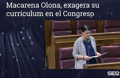 La diputada de Vox Macarena Olona falsea su currículum