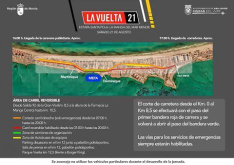 Dispositivo especial de tráfico con motivo de la 8ª Etapa de la Vuelta Ciclista a España, que recorre varias localidades de la Región de Murcia y finaliza en La Manga