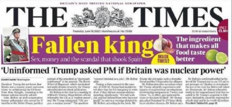 """THE TIMES: """"El rey caído, sexo, dinero y el escándalo que ha sacudido a España"""""""