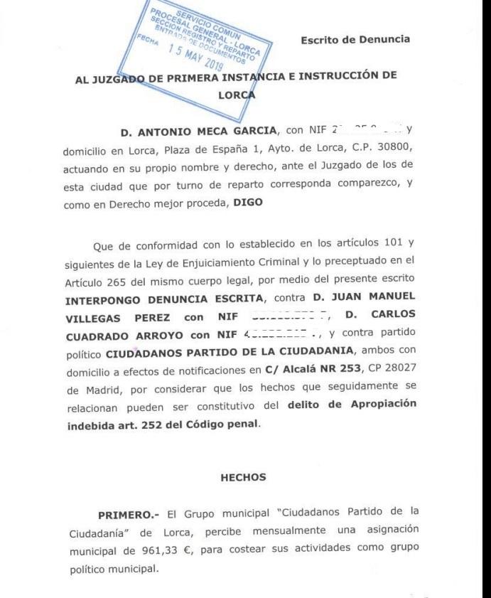 José Manuel Villegas, secretario general de Ciudadanos denunciado por Apropiación Indebida
