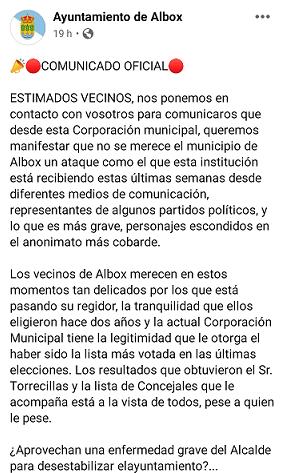 El alcalde interino de Albox, José Campoy que acusó a Francisco Torrecillas en sede judicial del cementado ilegal de la rambla, intenta engañar a los albojenses con un comunicado municipal que no se atreve a firmar