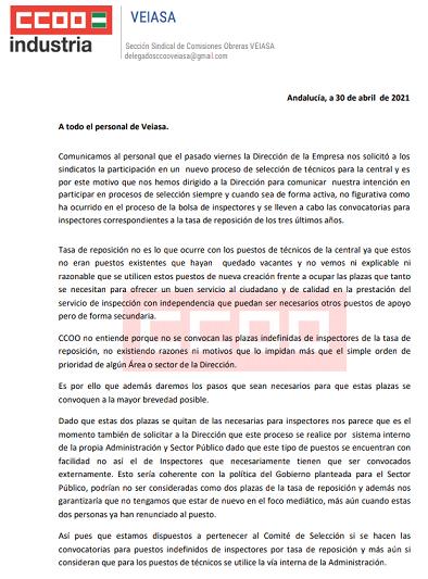 """La Junta de Andalucía y la Dirección de VEIASA celebran el 1º de Mayo ofreciendo un """"caramelo envenenado a los sindicatos"""" para blanquear el """"enchufe de los dos técnicos"""""""