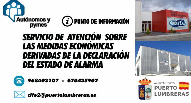 El Ayuntamiento de Puerto Lumbreras pone en marcha un servicio de atención a autónomos y pymes sobre las medidas económicas ante el Estado de Alarma