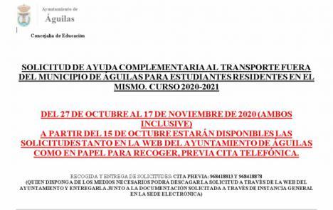A partir del 15 de octubre estará disponible el certificado para solicitar ayudas complementarios para el transporte de estudiantes