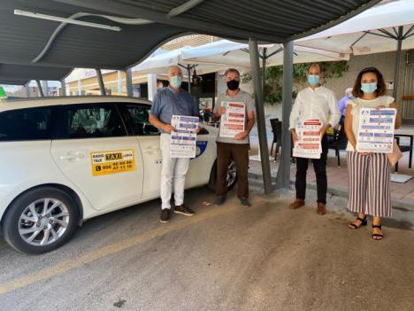 El colectivo de taxistas de Lorca ayudará a difundir entre sus usuarios la campaña 'Lorca te cuida' que persigue frenar la cadena de contagios por Covid19