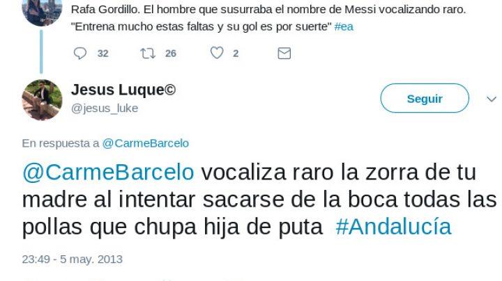 "Jesús Luque miembro de la lista del PP de Almería que encabeza Ramón Fernández-Pacheco famoso por tuits como: ""Solo deseo tu muerte, puta , guarra o zorra"""