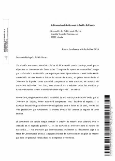 El Ayuntamiento de Puerto Lumbreras solicita 11.000 mascarillas a la Delegación del Gobierno para proteger a toda la población