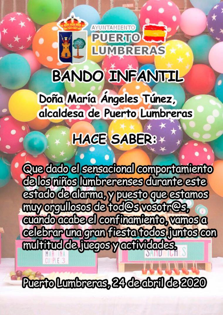 Puerto Lumbreras celebrará una gran fiesta para todos los niños para premiarles por su comportamiento durante el estado de alarma