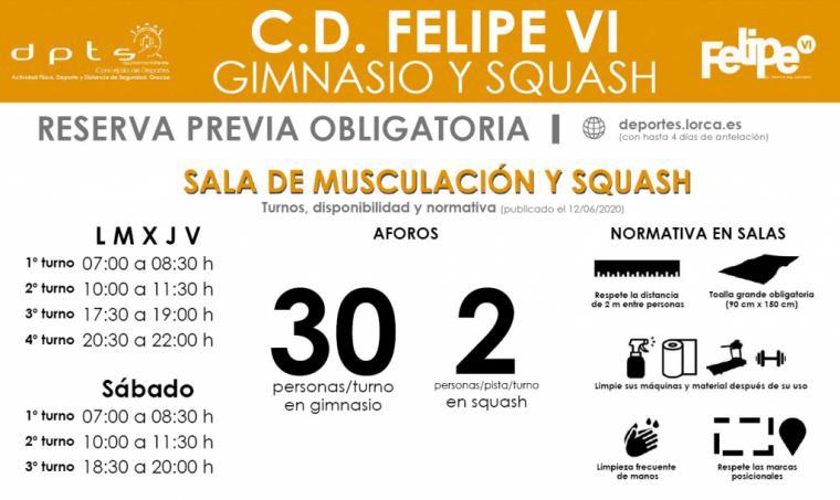 El Complejo Deportivo Felipe VI reanuda las actividades dirigidas y reabre la sala de musculación y las pistas de squash, este viernes, bajo un estricto protocolo de acceso