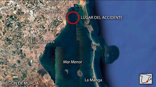 Nuevo accidente aéreo en el Mar menor: Se acaba de estrellar una avioneta del Ejército del Aire