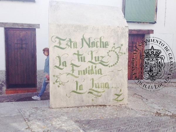 21 meses de prisión por pintadas en el patrimonio del Albaicín