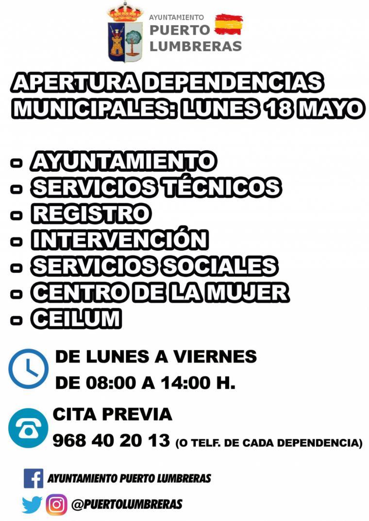 Las dependencias municipales abrirán el próximo lunes en horario de 08:00 a 14:00 horas y fomentando la cita previa en lo posible