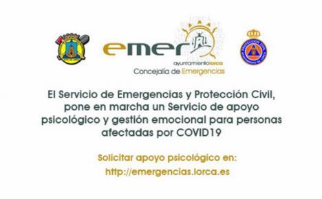 El Ayuntamiento de Lorca amplía a toda la población el servicio de apoyo psicológico y emocional prestado desde la Concejalía de Emergencias