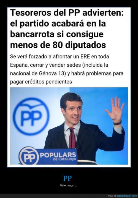 El PP al borde de la bancarrota después de los varapalos judiciales y la merma de ingresos tras las Elecciones Generales