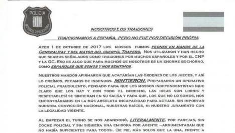 Mossos acusan a Trapero de «cobarde» y de dejar solos a los agentes de la Guardia Civil y Policía Nacional que venían a ayudar a Cataluña