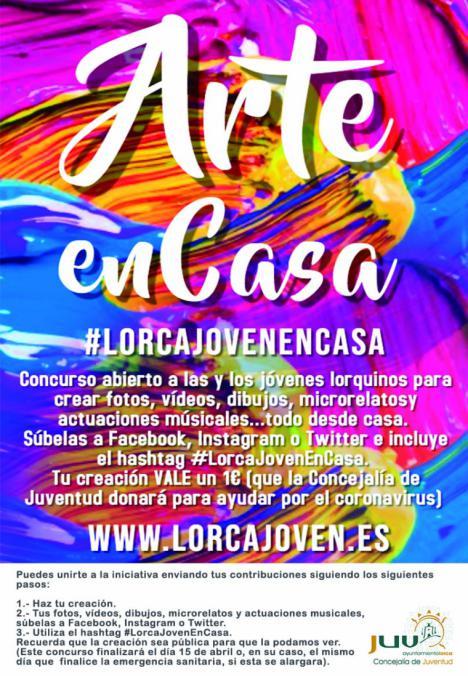 La Concejalía de Juventud de Lorca pone en marcha, a través de sus redes sociales, el concurso artístico y solidario LorcaJovenEnCasa