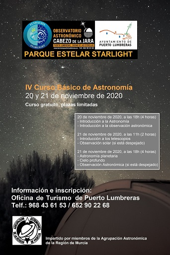 El Observatorio Astronómico del Cabezo de la Jara acogerá el 20 y 21 de noviembre el IV Curso Básico de Astronomía