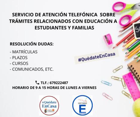 La Concejalía de Educación activa un Servicio de Atención Telefónica a estudiantes y familias