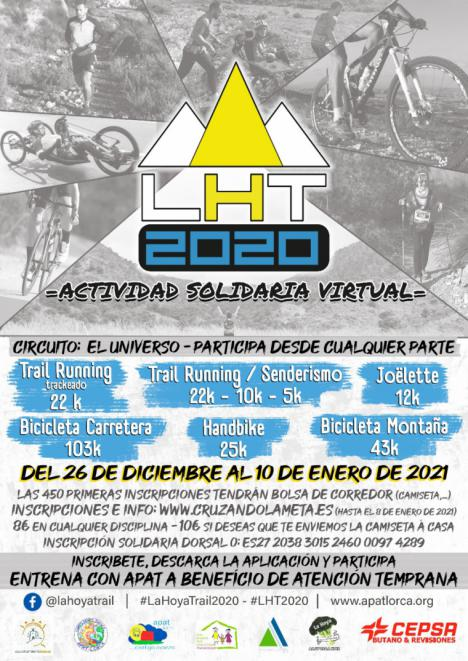 La segunda edición de 'La Hoya Lorca Trail' tendrá carácter virtual pero seguirá apostando por el deporte solidario y la recaudación irá destinada a APAT