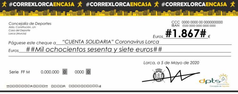 La prueba confinada #CorrexLorcaEnCasa recauda 1.867 euros que irán destinados a la Cuenta Solidaria para la lucha contra el coronavirus en Lorca