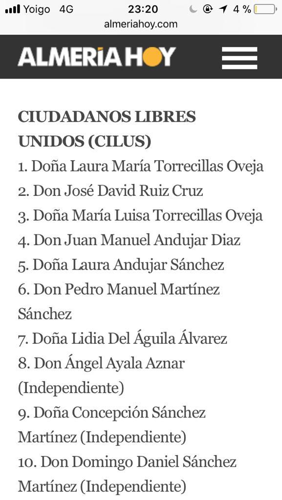 Francisco Torrecillas ante un presunto delito de prevaricación y delito electoral al utilizar dinero publico en una cena para promocionar a sus hijas que se presentan a las elecciones andaluzas