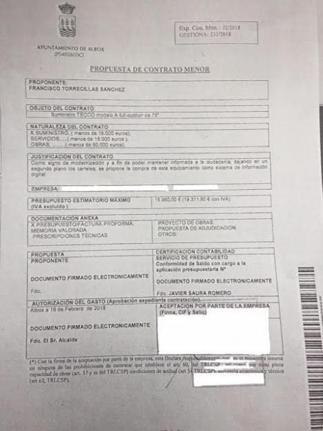 La Plataforma (Delider) denuncia presuntos contratos fraudulentos en el Ayuntamiento de Albox por valor de casi 27.000 euros.