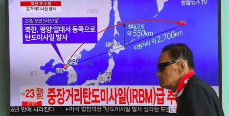 Nuevo misil de Corea del Norte sobrevolando Japón.