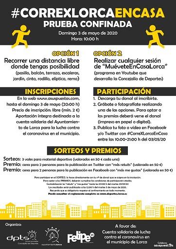 El próximo domingo 3 de mayo se celebrará el reto #CorreXLorcaEnCasa a beneficio de la Cuenta Solidaria para la lucha contra el coronavirus