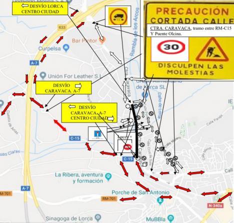 La Policía Local de Lorca establece normas especiales de circulación en la carretera de Caravaca, desde el próximo lunes 4 de noviembre