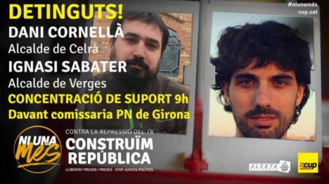Detenidos los alcaldes de la CUP, de Verges y Celrà