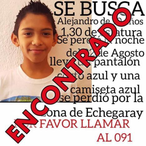 Alenjadro, el niño de 10 años desaparecido, sano y salvo