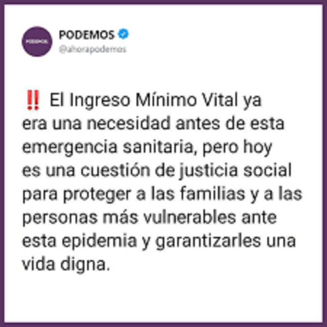 Objetivo de Podemos: aprobar el Ingreso Mínimo Vital que el PSOE retrasa y al que las derechas se oponen