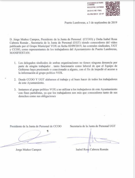 Los sindicatos con representación en el Ayuntamiento de Puerto Lumbreras se desmarcan de las acusaciones vertidas por VOX