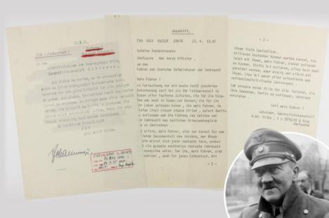 Sale a Subasta la nota en la que Hitler anunció su suicidio