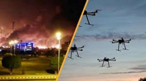 Las cámaras, ubicadas en la refinería saudí captaron las explosiones e incendios que generaron los misiles y los drones
