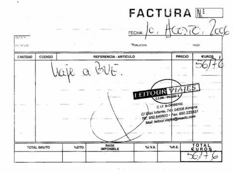 Facto Almeriense pagó a Javier Aureliano García, numero 1 del PP al Congreso un viaje a Argentina por importe de 5617 euros