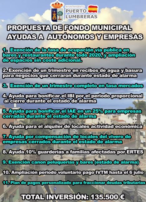 El equipo de Gobierno del Ayuntamiento de Puerto Lumbreras destinará más de 135.000 euros en ayudas económicas y fiscales a empresas y autónomos del municipio