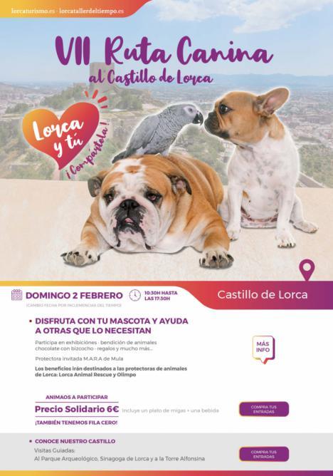 La VII Ruta Canina solidaria hasta el castillo de Lorca con motivo de la festividad de San Antón será este domingo, 2 de Febrero