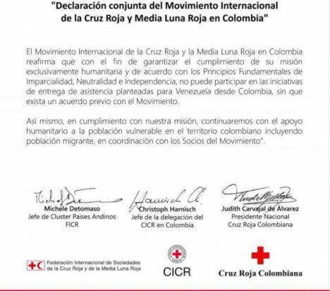 """Tanto Cáritas como Cruz Roja como la ONU se niegan a colaborar con la """"ayuda humanitaria"""" que manda EEUU a Venezuela"""