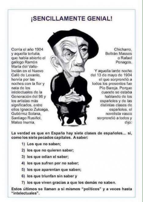 Aquellas cosas de Pío Baroja aplicadas al momento que vivimos en Cataluña.
