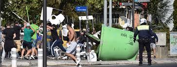 Batalla campal contra los hinchas del Racing ayer en Vitoria