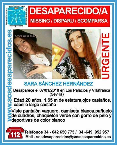Sigue sin saberse nada de la joven desaparecida en el municipio sevillano de Los Palacios