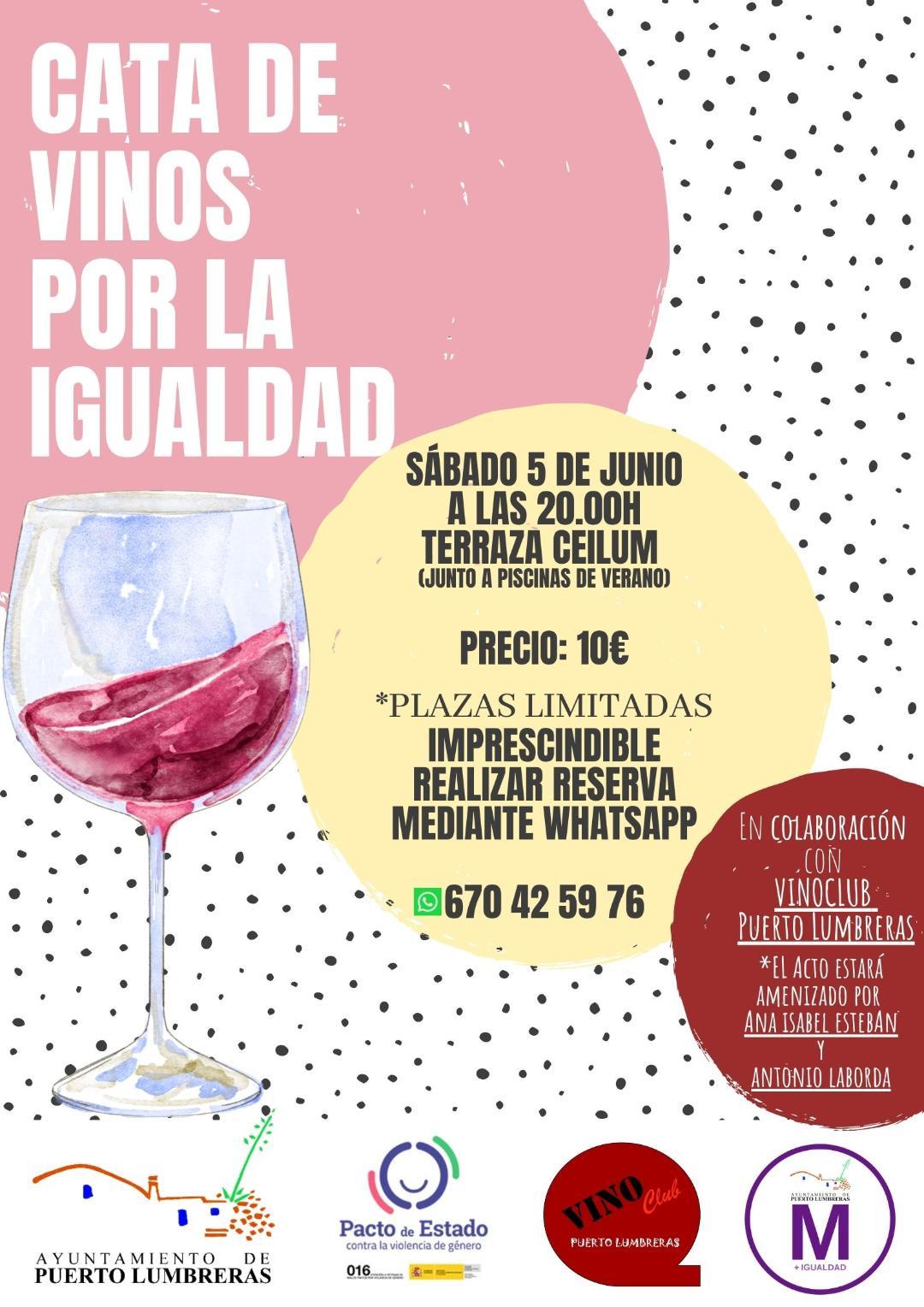 """El Ayuntamiento de Puerto Lumbreras organiza el próximo sábado la """"I Cata de Vinos por la Igualdad"""" para reivindicar el papel de la mujer en el mundo del vino"""