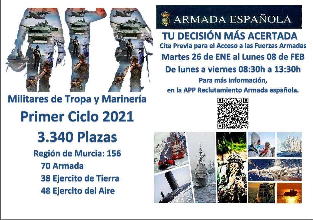 El Ministerio de Defensa convoca 3.340 nuevas plazas para el acceso a Militares de Tropa y Marinería. En la Región de Murcia se distribuyen en 70 plazas Armada, 38 Ejército de Tierra y 48 Ejército del Aire