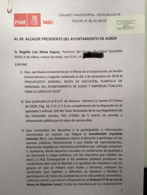 El Alcalde de Albox publica el Presupuesto del 2020 sin resolver las reclamaciones socialistas incurriendo en presuntos delitos de prevaricación y falsedad de documento público, denuncia el PSOE