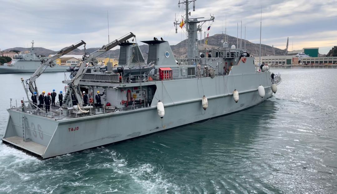 """El cazaminas """"Tajo"""" (M-36) se integrará en la Agrupación Permanente de Medidas Contra Minas nº 2 de la OTAN. El buque y su dotación operarán en el mar Mediterráneo y mar Negro durante los próximos dos meses"""