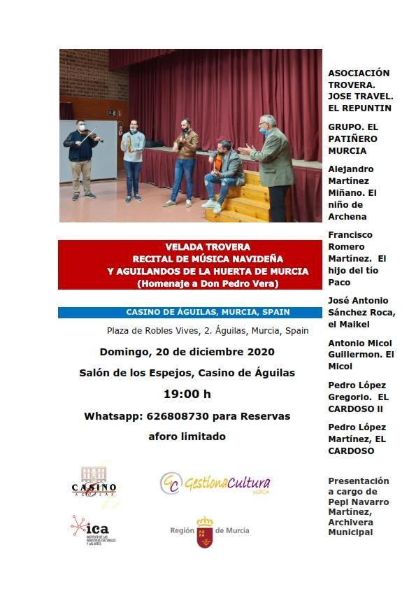 El Casino de Águilas acoge mañana domingo una Velada trovera en homenaje al fallecido poeta local Pedro Vera