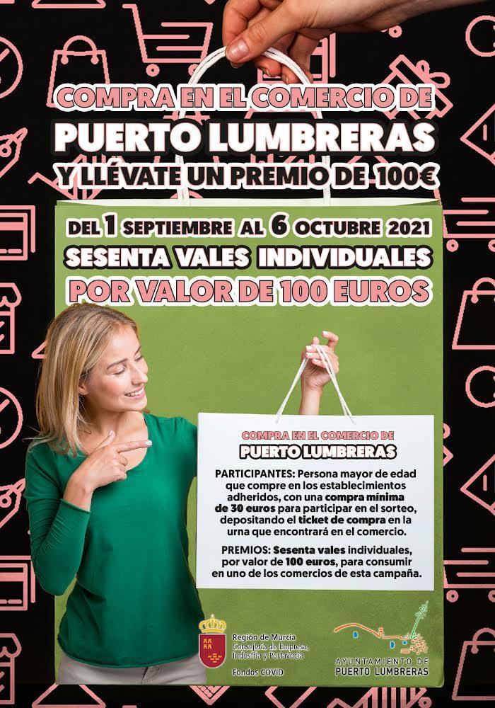 """Vuelve la campaña """"Compra en Puerto Lumbreras y llévate un premio"""", que sorteará 60 vales de 100 euros entre quienes hagan sus compras en el comercio local hasta el 6 de Octubre"""